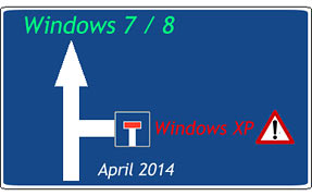 Supportende für Windows XP seit April 2014.